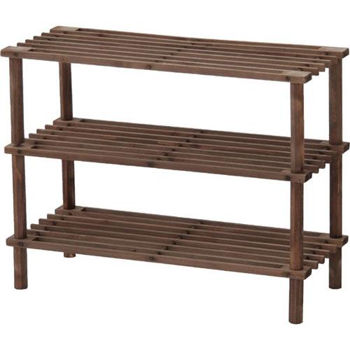 木製オープンラック 幅63cm高さ48cm 浅型3段 ブラウン 【10個組】79102