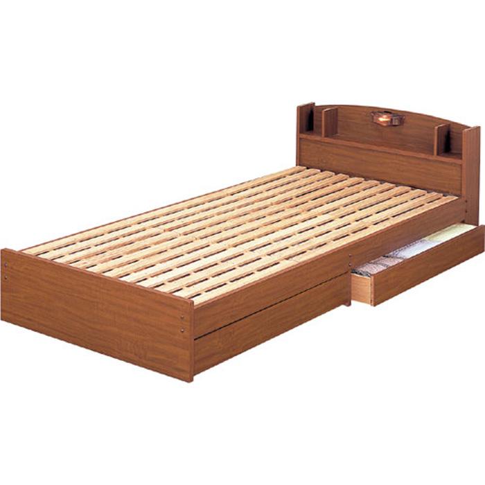 棚・照明付引き出し収納すのこベッド ロング【フレームのみ】シングル ブラウン 14215