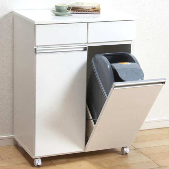ゴミ箱内蔵キッチンカウンター キャスター付 幅55cm高さ82cm 2D ホワイト 23703