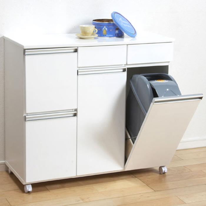 ゴミ箱内蔵キッチンカウンター キャスター付 幅82cm高さ82cm 4D ホワイト 23713