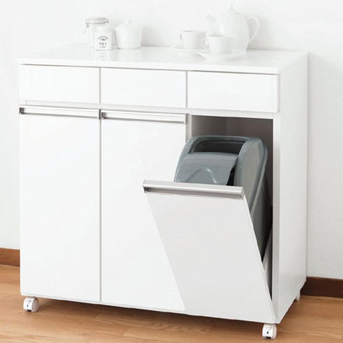 ゴミ箱内蔵キッチンカウンター キャスター付 幅82cm高さ82cm 3D ホワイト 92195