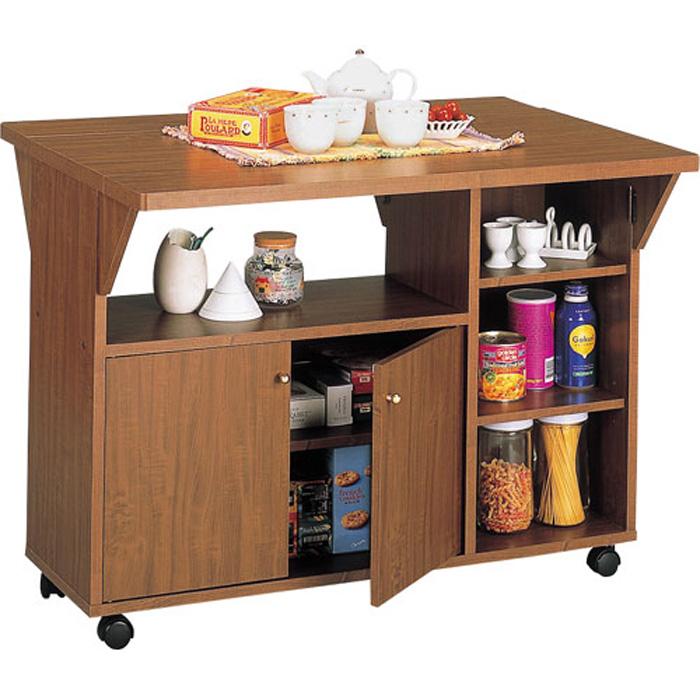 キッチンカウンター キャスター付 両バタ 幅90cm高さ69cm ブラウン 92915