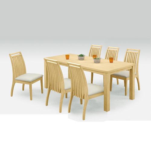 ダイニングテーブルセット 食卓セット リビングセット 木製テーブル 6人掛け ダイニング7点セット アルファ 幅180cmテーブル+チェア6脚 ナチュラル ダイニングセット 食卓テーブル リビングダイニングセット ダイニングチェア 椅子 チェア 食卓椅子 r-sk1-031-02-na