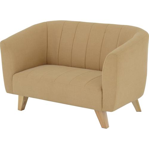 2人掛けソファ 幅121cm 布張 ベル ベージュ 布地 ファブリック ソファ ソファー sofa 2人掛けソファー 二人掛けソファ 肘掛け 脚付き ロータイプ 一人暮らし bell-ve
