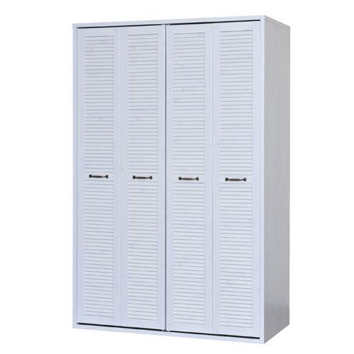 ルーバー折れ戸クローゼット プラカ 幅120cm高さ185cm ホワイト クローゼット ワードローブ 収納家具 コート掛け 洋服 収納 衣類収納 服の収納 ルーバー扉 pr185-120cwh