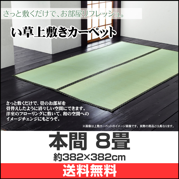 日本製 い草上敷き ラグ 本間 8畳
