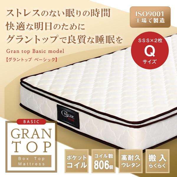 送料無料 Gran top グラントップマットレス ベーシックタイプ クイーン Qサイズ マットレス 2枚組 高耐久ウレタン ベッド用マット rim1202-q2