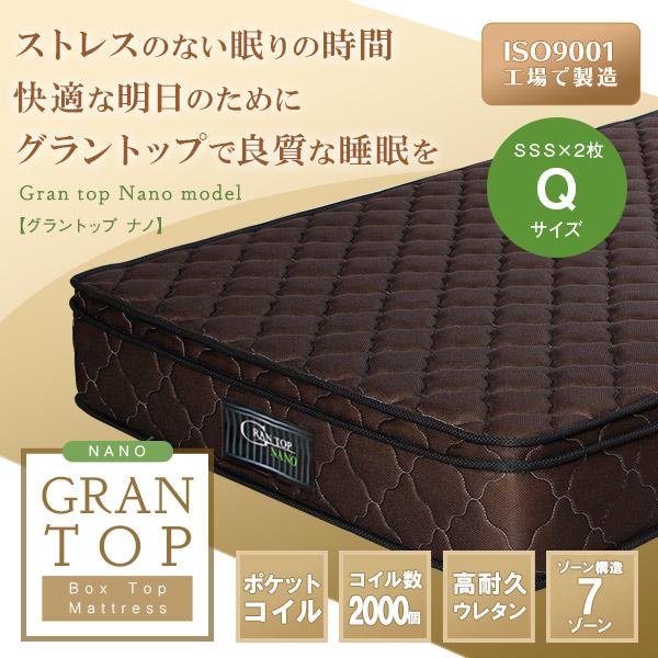 送料無料 Gran top グラントップマットレス ナノタイプ クイーン Qサイズ マットレス 2枚組 高耐久ウレタン ベッド用マット rim1223-q2