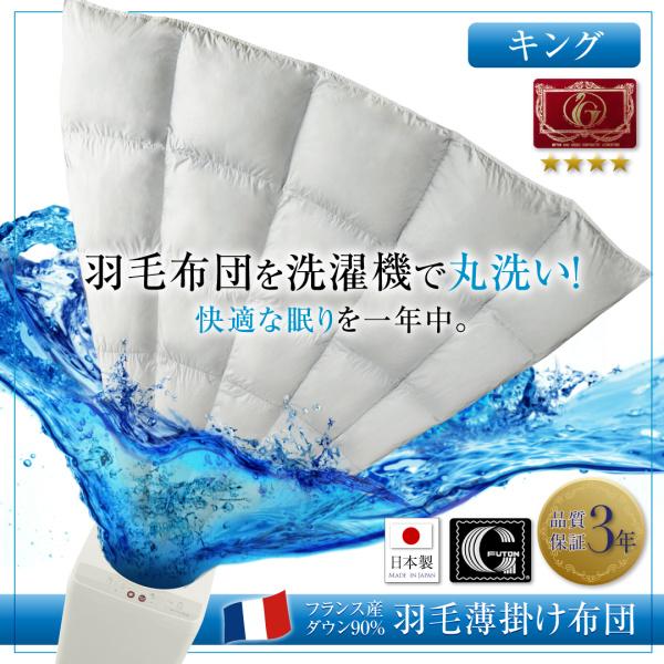送料無料 洗濯機 丸洗い エクセルゴールドラベル フランス産ダウン90% 羽毛薄掛け布団 Wash ウォッシュキング シルバーアッシュ