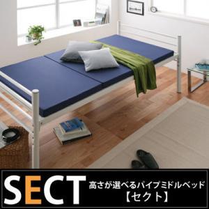 送料無料 高さが選べるパイプミドルベッド SECT セクト ベッド ベット シングル シングルベッド 収納スペース メッシュ 通気性 高さ調整 大容量収納スペース パイプベッド 子供 一人暮らし パイプ 頑丈 ベッド下 収納 ワンルーム 組立て コンパクト 040100781