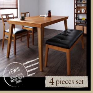 送料無料 天然木 北欧 ヴィンテージ LEWIS ルイス 4点セット (テーブル+チェア×2+ベンチ) 4人掛け 4人用 ダイニングセット ダイニングテーブルセット リビングセット ダイニングテーブル テーブル 机 ベンチ 椅子 ダイニングチェア カフェ風 ソフトレザー 040605283