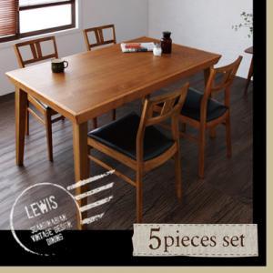 送料無料 天然木 北欧 ヴィンテージ LEWIS ルイス 5点セット (テーブル+チェア×4) 4人掛け 4人用 ダイニングセット ダイニングテーブルセット リビングセット ダイニングテーブル テーブル 机 つくえ チェア 椅子 ダイニングチェア カフェ風 ソフトレザー 040605284
