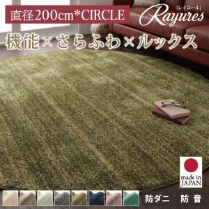 送料無料 さらふわ国産ミックスシャギーラグ【rayures】レイユール 直径200cm(サークル) 040702170