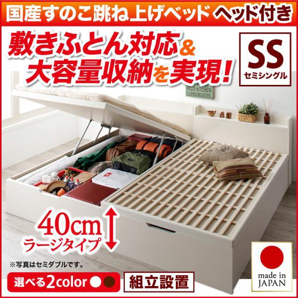 送料無料 組立設置付き 日本製 跳ね上げ式 ベッド すのこベッド セミシングル 敷き布団対応 Begleiter ベグレイター 縦開き ヘッド付き セミシングルベッド 深さラージ 国産 大容量 収納付きベッド すのこ床板 ベッド べット ガス圧式 棚付き コンセント付き 500025925