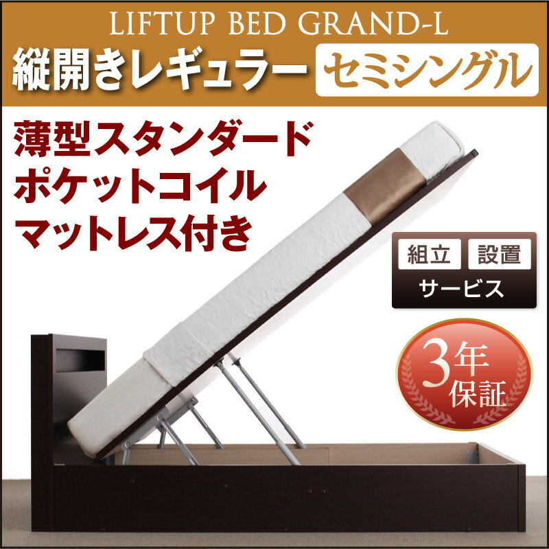 送料無料 組立設置付 開閉タイプが選べる跳ね上げ収納ベッド Grand L グランド・エル 薄型スタンダードポケットコイルマットレス付き 縦開き セミシングル 深さレギュラー