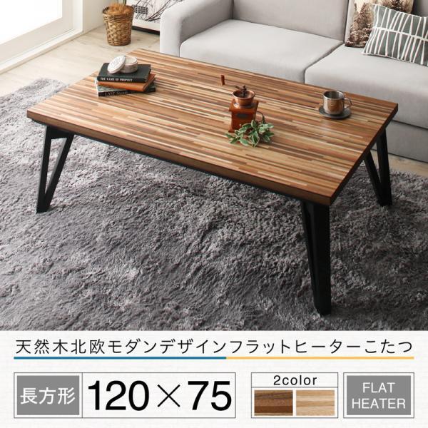 北欧モダンデザインこたつテーブル 単品 Ares アーレス 4尺長方形(75×120cm) 天然木 フラットヒーター ウォールナットブラウン/オークナチュラル 500042229
