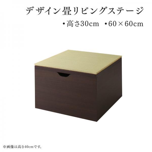 収納付き畳リビングステージ 畳ボックス収納 そよ風 そよかぜ 60×60cm 高さ30 い草 小上がり フレームのみ日本製 フレーム:ダークブラウン/畳:グリーン 500044601