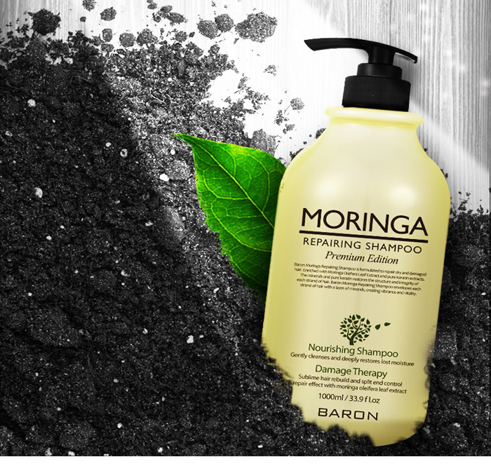 Baron / Moringa shampoo 1 L / scalp care / mass / coconut oil content / nutrition rich / smooth ~