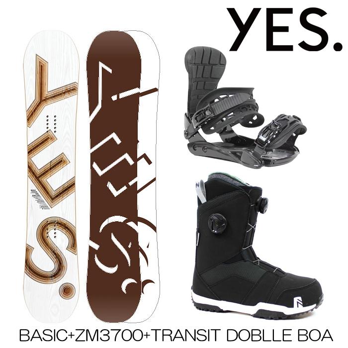 スノーボード 3点セット メンズ レディース ユニセックス ボード+ビンディング+ブーツ Yes BASIC + ZM3800 + TRANSIT DOUBLE BOA