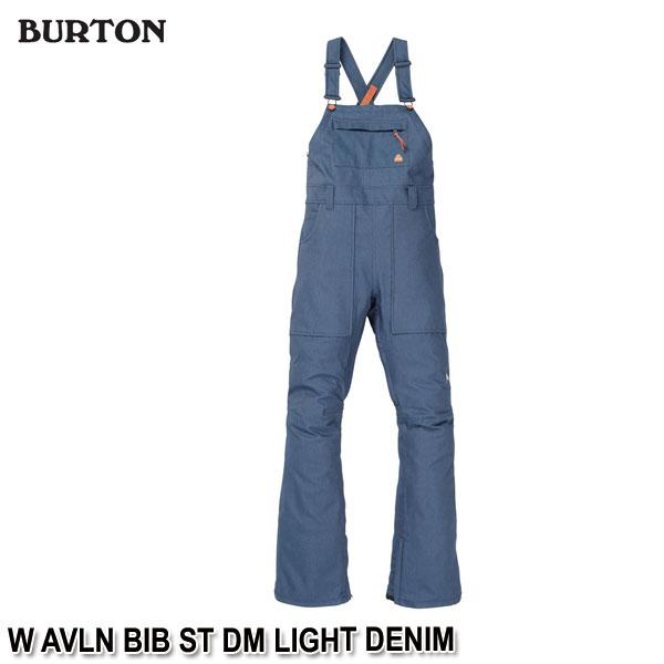 特典付 19-20 バートン BURTON W AVLN BIB ST DM LIGHT DENIM スノーウェア ビブパンツ レディース 女性用 2020 日本正規品 予約