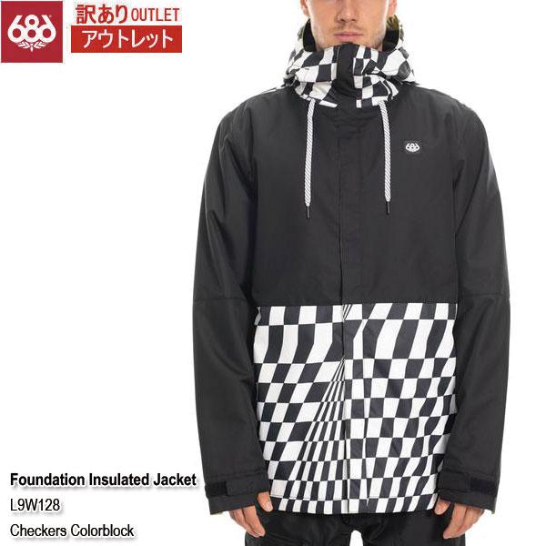 訳あり 19-20 アウトレット ジャケット スノーウェア シックスエイトシックス 686 Foundation Insulated Jacket Checkers Colorblock メンズ 男性用 2020