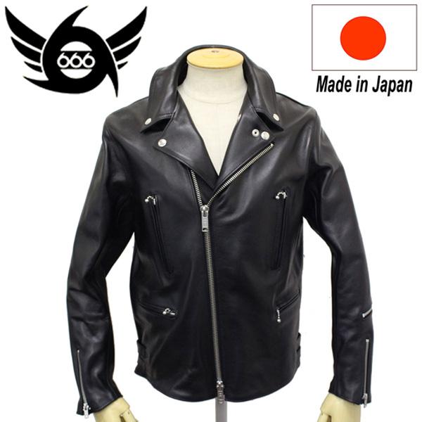 正規取扱店 666 LJM-1TFBS TIGHT FIT BACKSIDE U.K.SIDE BELT LEATHER JACKET (タイトフィット バックサイド レザージャケット) 日本製 BLACK
