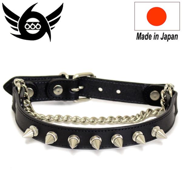 正規取扱店 666 STUDDED GEAR スパイク ブーツストラップ ブラックレザー/シルバー鋲/ブラックステッチ 日本製 SOF0004