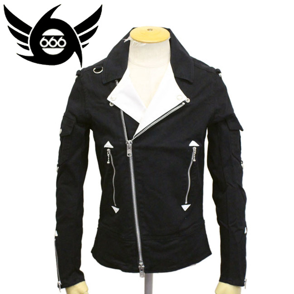 正規取扱店 666 ORIGINAL THE CLASH コットンライダースジャケット ブラック/ホワイト SOJ0013