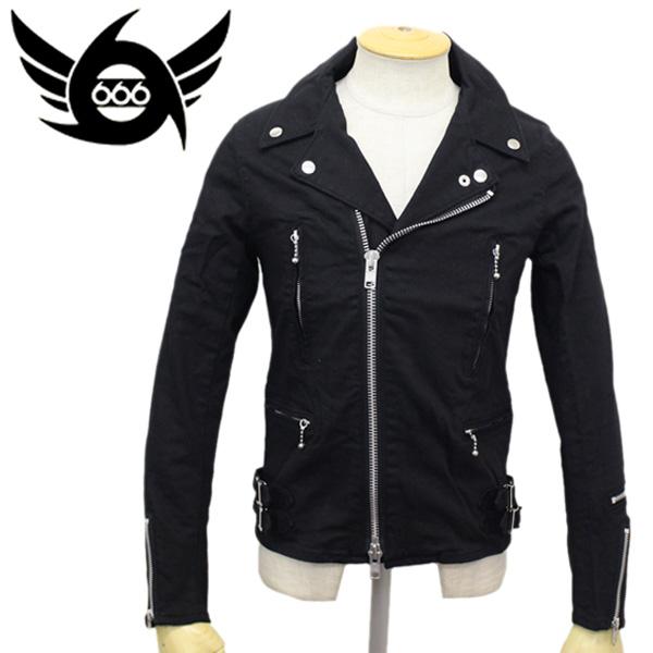 正規取扱店 666 ORIGINAL Stretch Cotton Side Belt Ridears Jacket Tight Fit (オリジナル ストレッチコットンサイドベルト ライダースジャケット タイトフィット) ブラック SOJ0007