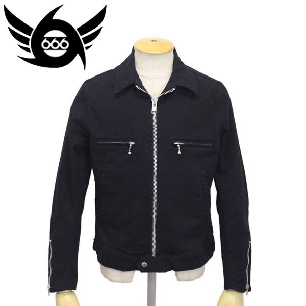 正規取扱店 666 ORIGINAL オリジナル ストレッチコットンシングルライダースジャケット ブラック SOJ0021