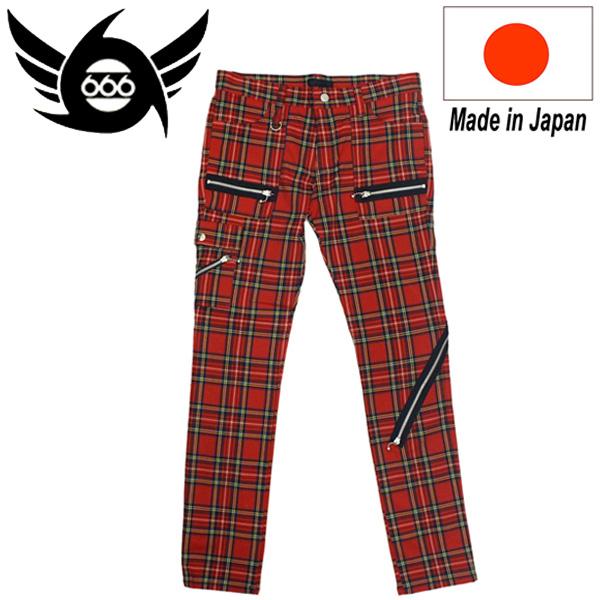 正規取扱店 666 ORIGINAL Army Zip Jeans (アーミージップジーンズ) レッドタータンチェック SOP0009