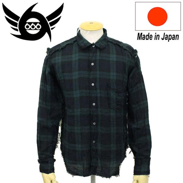 正規取扱店 666 ORIGINAL ガーゼラウンドカラーシャツ L/S 長袖 ダークグリーン SOS0015