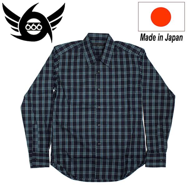 正規取扱店 666 ORIGINAL Regularcollar Shirts L/S (レギュラーカラーシャツ) 長袖 ダークグリーンタータン SOS203