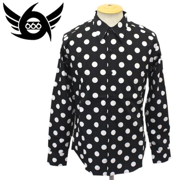 正規取扱店 666 ORIGINAL Dot Shirts L/S (オリジナル ドットシャツ ロングスリーブ) ブラック/ホワイトドット SOS0005