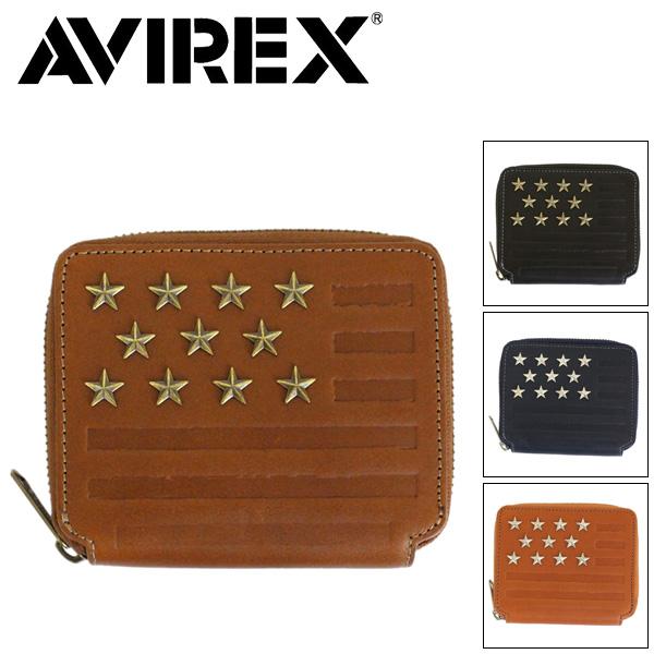 正規取扱店 AVIREX (アヴィレックス) FAHNE ファーネ AX9002 2つ折り ラウンドファスナーショートウォレット 全4色