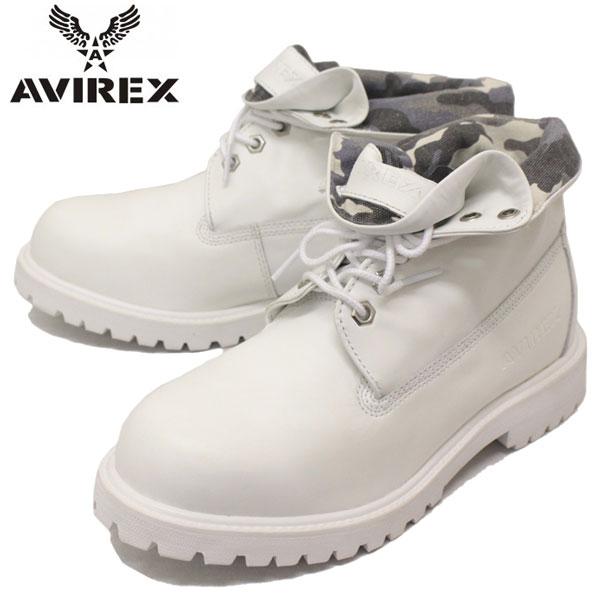 正規取扱店 AVIREX U.S.A.(アビレックス) AV3010 COBRA ROLL(コブラロール) 2WAYプレーンブーツ WHITE(ホワイト)