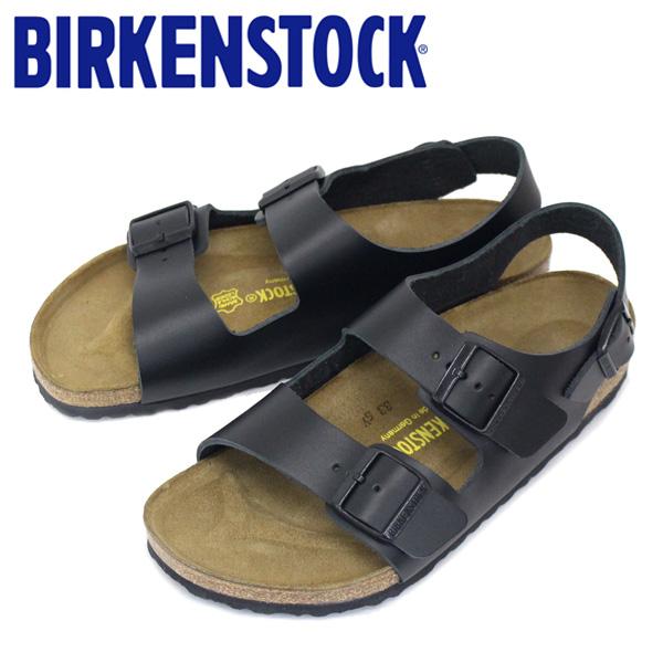 正規取扱店 BIRKENSTOCK (ビルケンシュトック) MILANO (ミラノ) スムースレザー サンダル レギュラー(幅広) ブラック BI061