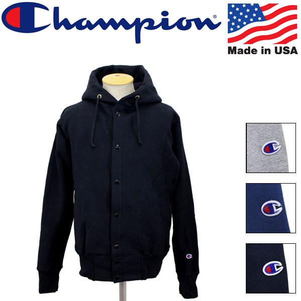 正規取扱店 Champion (チャンピオン) C5-E103 Reverse Weave リバースウェーブ スナップ フードスウェットシャツ) アメリカ製 全4色 CN003