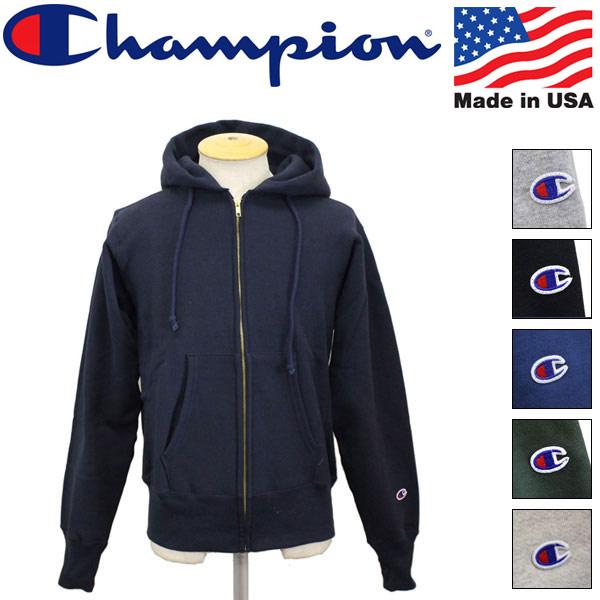 正規取扱店 Champion (チャンピオン) C5-U102 Reverse Weave リバースウェーブ ジップ フードスウェットシャツ) アメリカ製 全6色 CN005