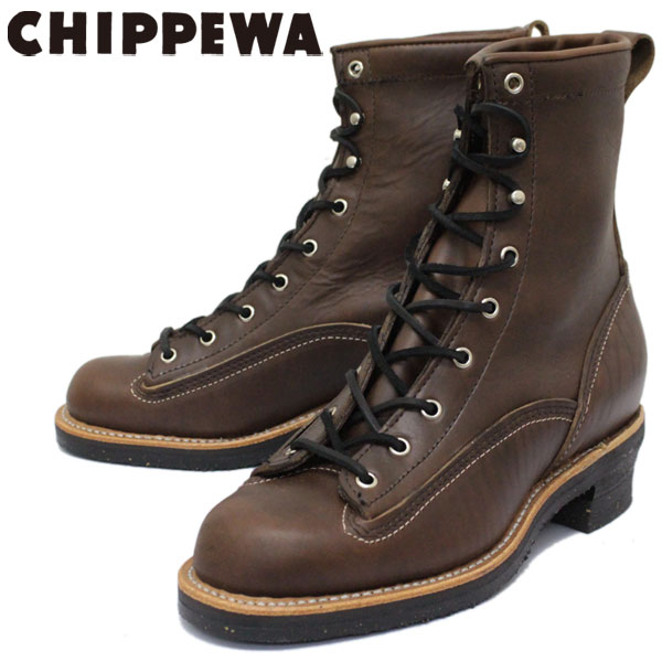 正規取扱店 CHIPPEWA (チペワ) 1935 8inch LACED-TO-TOE LOGGER BOOTS 8インチ レーストゥトゥ ロガーブーツ CHOCOLATE