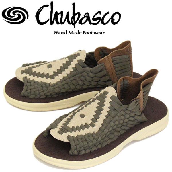 正規取扱店 Chubasco (チュバスコ) Aztec Original アズテック オリジナルホワイトソール サンダル 013-Khaki(Olive)/Coffee