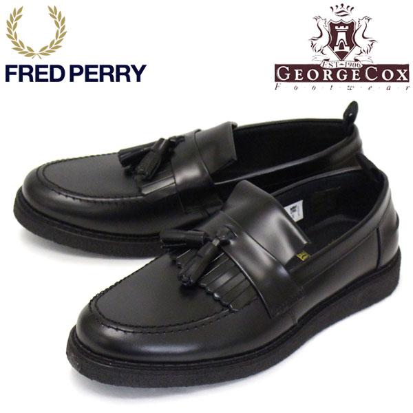 正規取扱店 FRED PERRY (フレッドペリー) x GEORGE COX (ジョージコックス) Wネーム B9278 TASSEL LOAFER タッセルローファー レザーシューズ 102 BLACK FP371