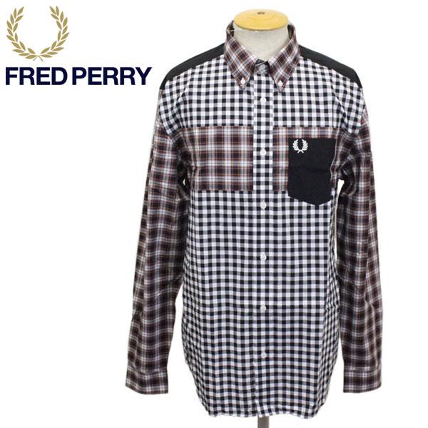 正規取扱店 FRED PERRY (フレッドペリー) M8605 CONTRAST CHECK PANEL SHIRT コントラストチェックパネルシャツ 122 PORT FP379