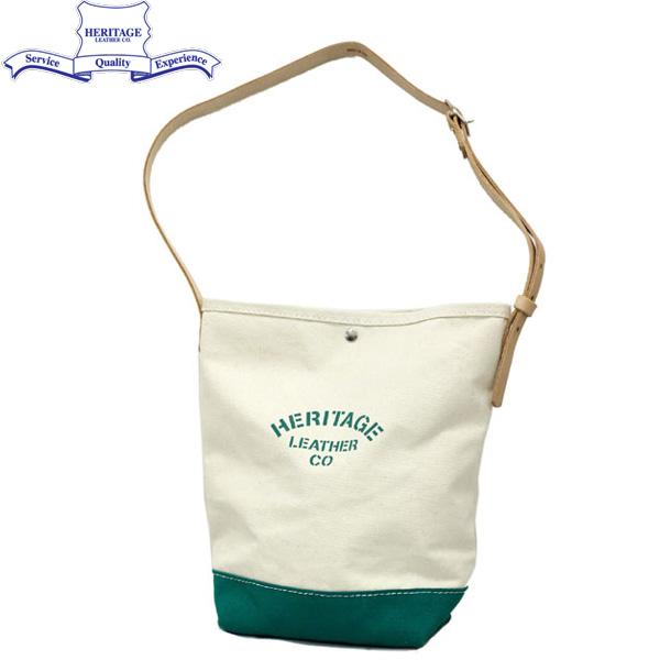 スーパーセール 正規取扱店 HERITAGE LEATHER CO.(ヘリテージレザー) NO.8105 Bucket Shoulder Bag(バケットショルダーバッグ) Natural/Green HL138