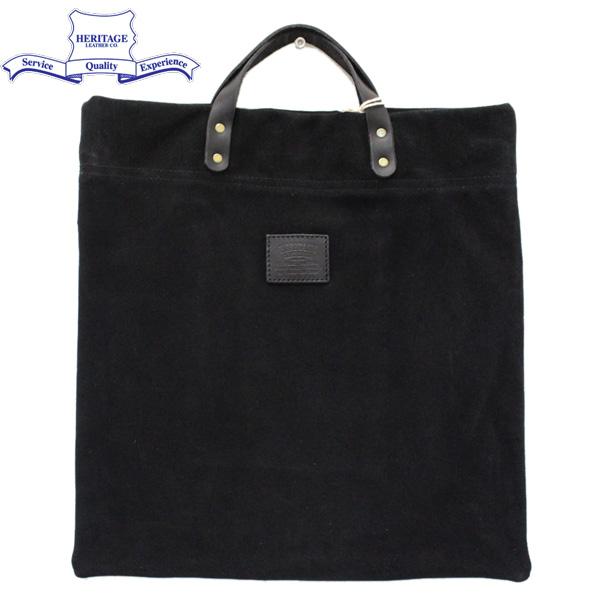 正規取扱店 HERITAGE LEATHER CO.(ヘリテージレザー) NO.8385 Suede Book Tote Bag(スエードブックトートバッグ) Black Suede HL167