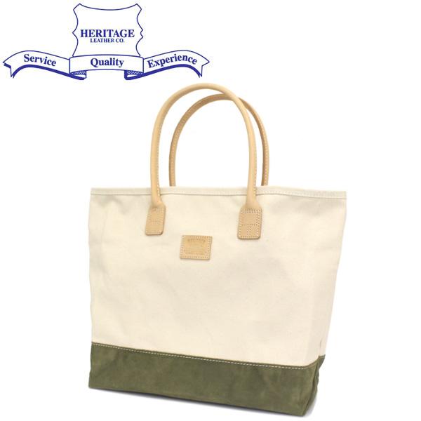 正規取扱店 HERITAGE LEATHER CO.(ヘリテージレザー) NO.8662 Suede Bottom Tote Bag (トートバッグ) Natural/Moss HL208