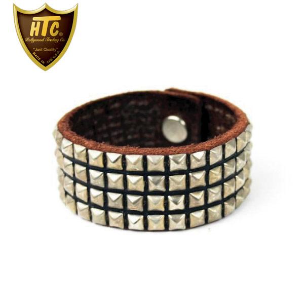 正規取扱店 HTC(Hollywood Trading Company) #14S-100 4連スモールピラミッドブレスレット ブラックレザーXシルバースタッズ