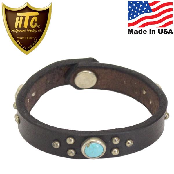 正規取扱店 HTC(Hollywood Trading Company) #B TQ Narrow Turquoise Bracelet ナローターコイズ レザーブレスレット ブラック