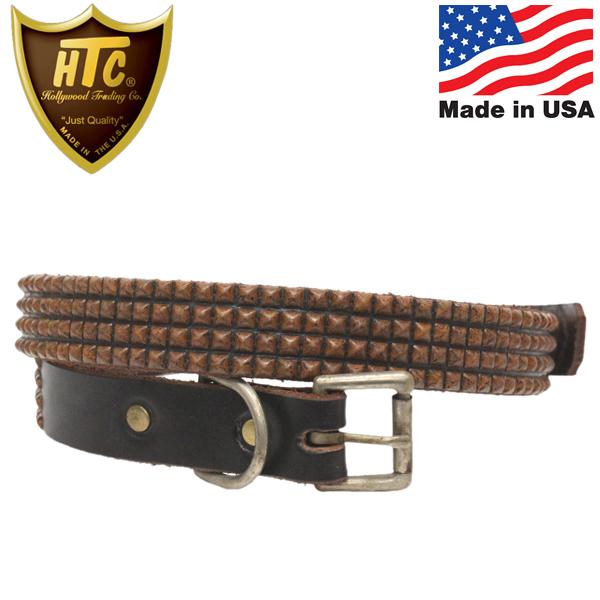 正規取扱店 HTC(Hollywood Trading Company) #14S-100 4連スモールピラミッドスタッズベルト Dark Brown Leather x Brass Studs