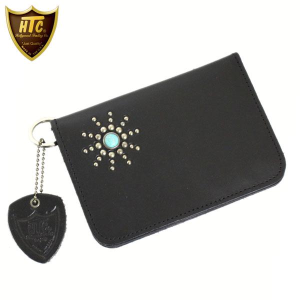 正規取扱店 HTC(Hollywood Trading Company) #SB2 TQ T-2 MEDIUM WALLET (スターバースト ミディアムウォレット) ブラックレザーxターコイズ